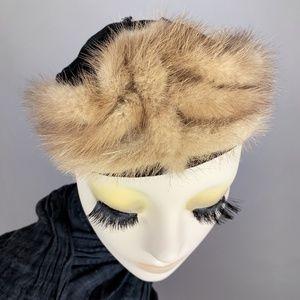 Vintage 30s Velvet Mink Fur Art Deco Juliette Hat
